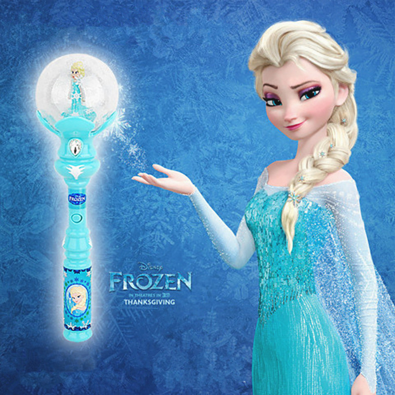 Disney Frozen Toys Anime Cosplay Elsa Led Magic Wand Musical Henshin Rod Glow Stick Dance Spiral Elsa Doll Rod Best Gifts