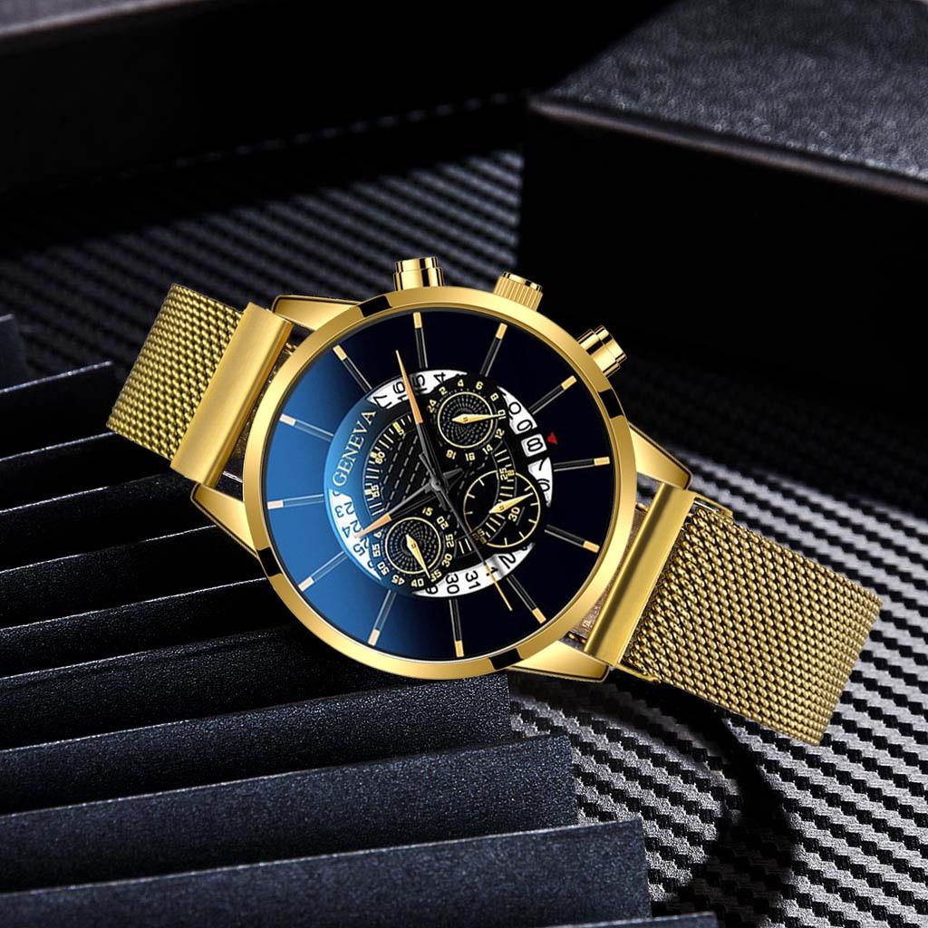 2020 New Fashion Watch Men Alloy Mesh Band Wristwatches Geneva Brand Date Display Luxury Dress Watch Business Clock Reloj Hombre