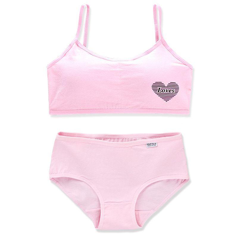 Teens Girls Sports Bra Puberty Gym Underwear Wireless Teenager Girls Sport Bra with Briefs Cotton Young Girls Training Bra Set 4
