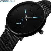 CRRJU – relojes de hombre, de cuarzo, casual, delgado, de malla de acero, impermeable, deportivo, masculino