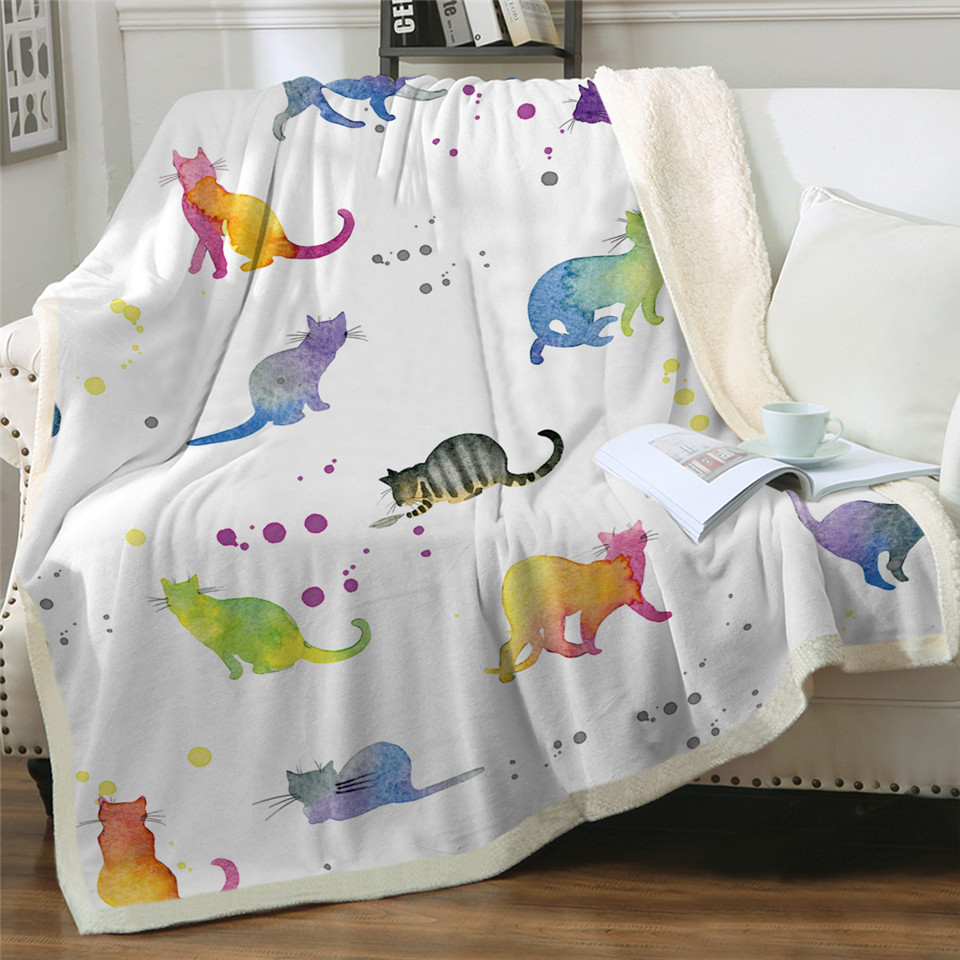 Various Cat Design Throw Blankets