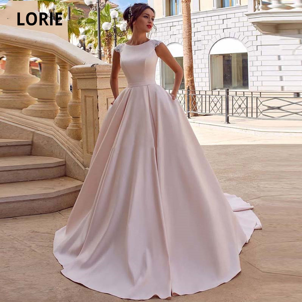 LORIE Spring Pink Satin Wedding Dresses A Line Boho Princess Bride Dress O-Neck Cap Sleeve Button Wedding Gowns Pockets 2020