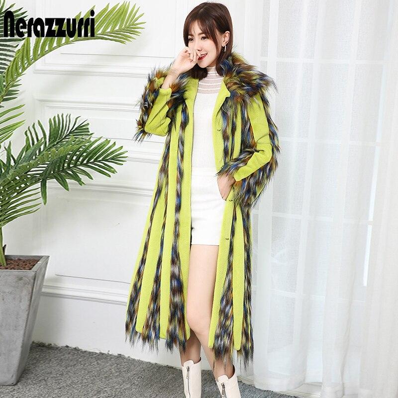Nerazzurrti 2019 Runway Womens Fashion Faux Fur Coats Long Sleeve Multi Color Streetwear Vintage Plus Size Winter Clothes Women