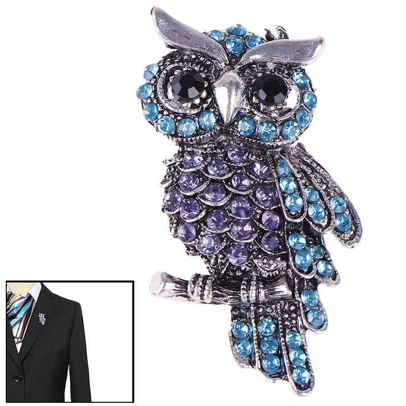 Owl Korean Zinc Alloy Trendy Imitation Rhinestone Blue Brooch Badge Christmas Gifts Accessories for Ancient Women's Men's