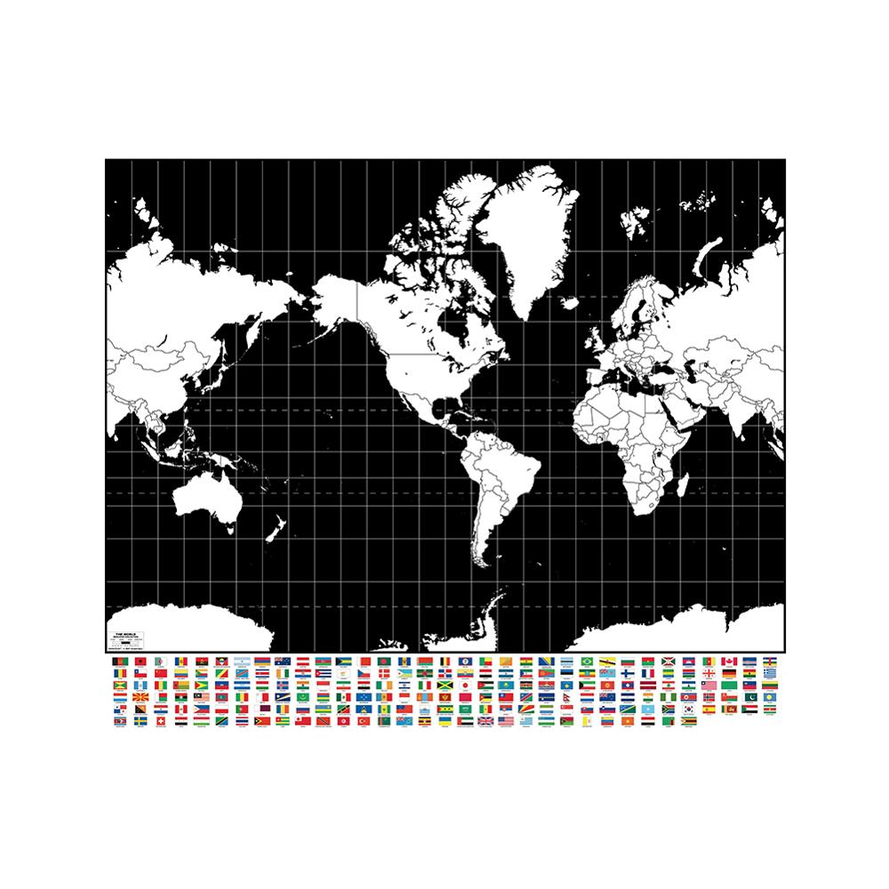 Black And White Plate World Map Non-woven Waterproof Inkjet Map 90x90cm