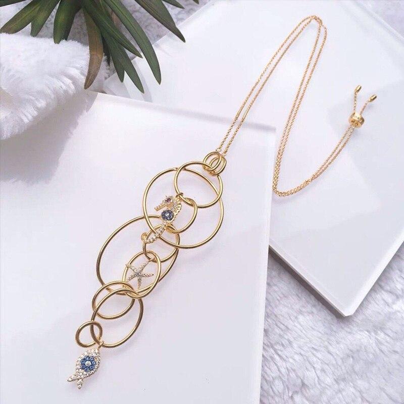 Mode 925 argent Sterling oeil hippocampe collier Multi cerceaux étoile de mer oeil cheval poisson collier femmes Monaco juin bijoux