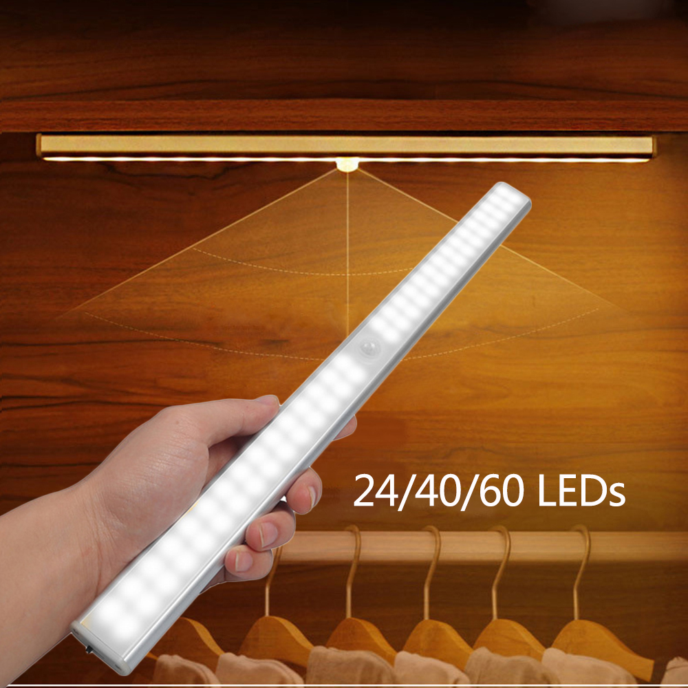 LED Under Cabinet Light USB Rechargeable 24/40/60 LED PIR Motion Sensor Night Light Kitchen Wardrobe Induction Stair Wall Lamp