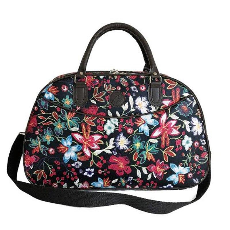 2019 Fashion Women's Hand Luggage Bags PU Leather Handbags Floral Print Large-capacity Storage Duffel Weekend Travel Bag