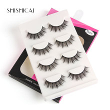 New Arrival 4 Pairs Faux Mink Eyelashes Handmade Makeup 3D Lashes Reusable Natural Thick Fake Extension