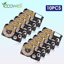 Ecowell 5/10 шт. XR-12GD совместимый для объектива с оптическими зумом Casio XR12GD XR 12GD 12 мм * 8 м запечатанных лент в черно-белую на золотом для объектива с ...