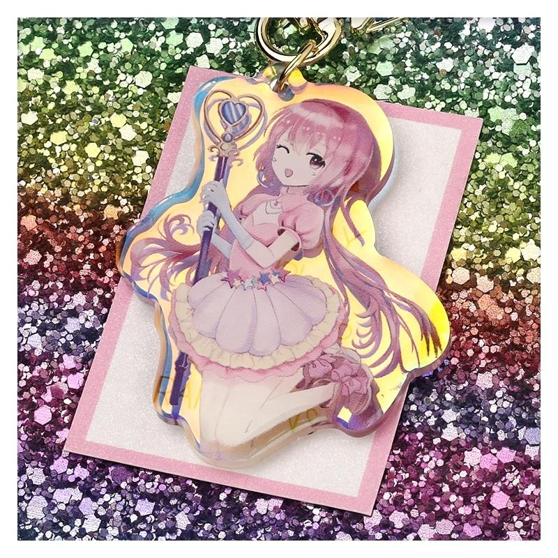 6cm Holographic Custom Acrylic Keychain Rainbow Clear Acrylic Keyring Glitter Anime Figure Acrylic Charm Character Keyring