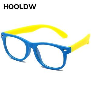 HOOLDW анти синий светильник, детские очки, квадратная оптическая оправа, очки для мальчиков и девочек, квадратные компьютерные прозрачные очк...