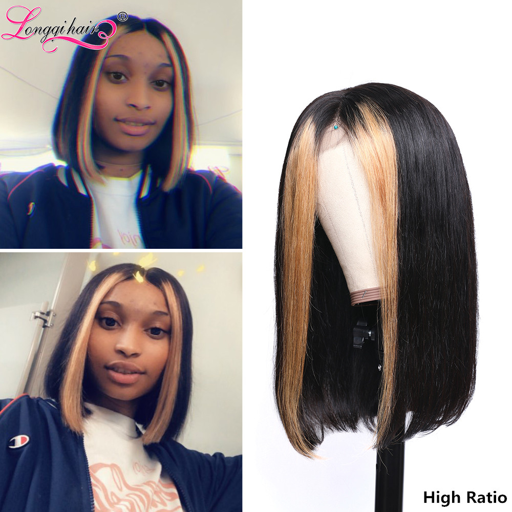 H39060f4e60cd4ed3b87880712e1a491cr Longqi Highlight 27# Bob Lace Front Wigs High Ratio 180% 13x4 Lace Front Human Hair Wigs Remy Brazilian Straight Lace Front Wigs