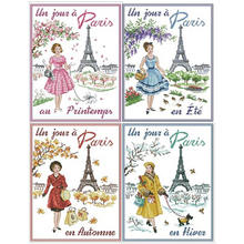 Four seasons in paris patterns counted cross stitch 11ct 14ct