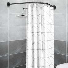 Wysuwana narożna karnisz prysznicowy słup czarna prowadnica ze stali nierdzewnej Bar drzwi do łazienki sprzęt ciężki załadowany 12 metalowe haki