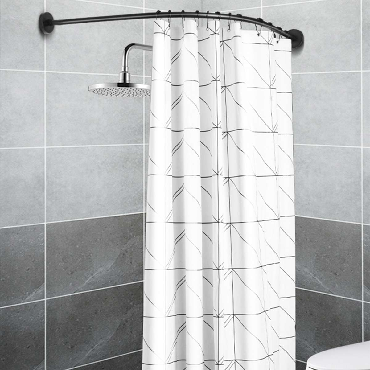 Extendable Corner Shower Curtain Rod Pole Black Stainless Steel Rail Rod Bar Bath Door Hardware Heavy Loaded With 12 Metal Hooks