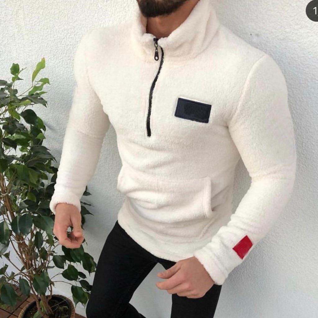 Men's Sweater Turtleneck Zipper Pure-Colour Sanitary Clothes Fleece Pullover Blouse S-2XL Plus Size Autumn Winter Pull Homme
