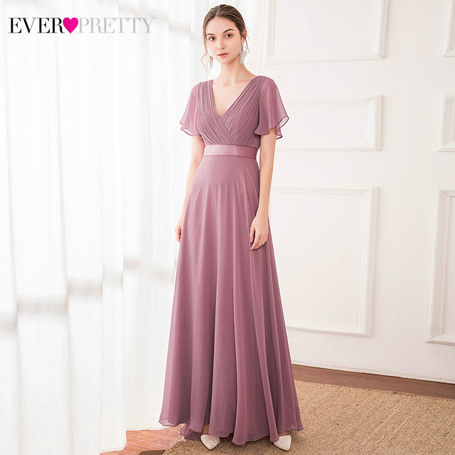 Evening Dresses EP09890 Padded Trailing Flutter Sleeve Long Women Gown 2020 New Chiffon Summer Style Special Occasion Dresses 1