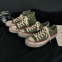 Hombre Zapatos sucios alta Retro Vintage estilo zapatillas de deporte de moda zapatos de lona zapatos de encaje bajo superior Denim tela Unisex 35-44