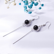 925 Sterling Silver Black Agate Long Drop Earrings Crescent Temperament Tassel for Women Jewelry Girls Gift