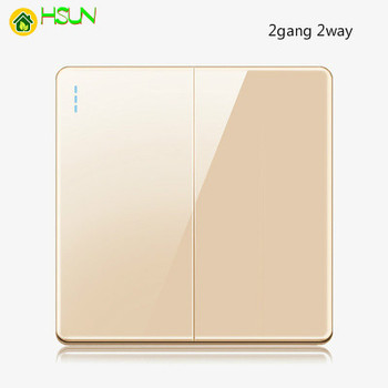 High-grade 1 2 3 4 gang 1 2 way big panel Golden switch socket Type 86 Wall 2.5D Cambered Mirror Toughened glass Computer TV 10