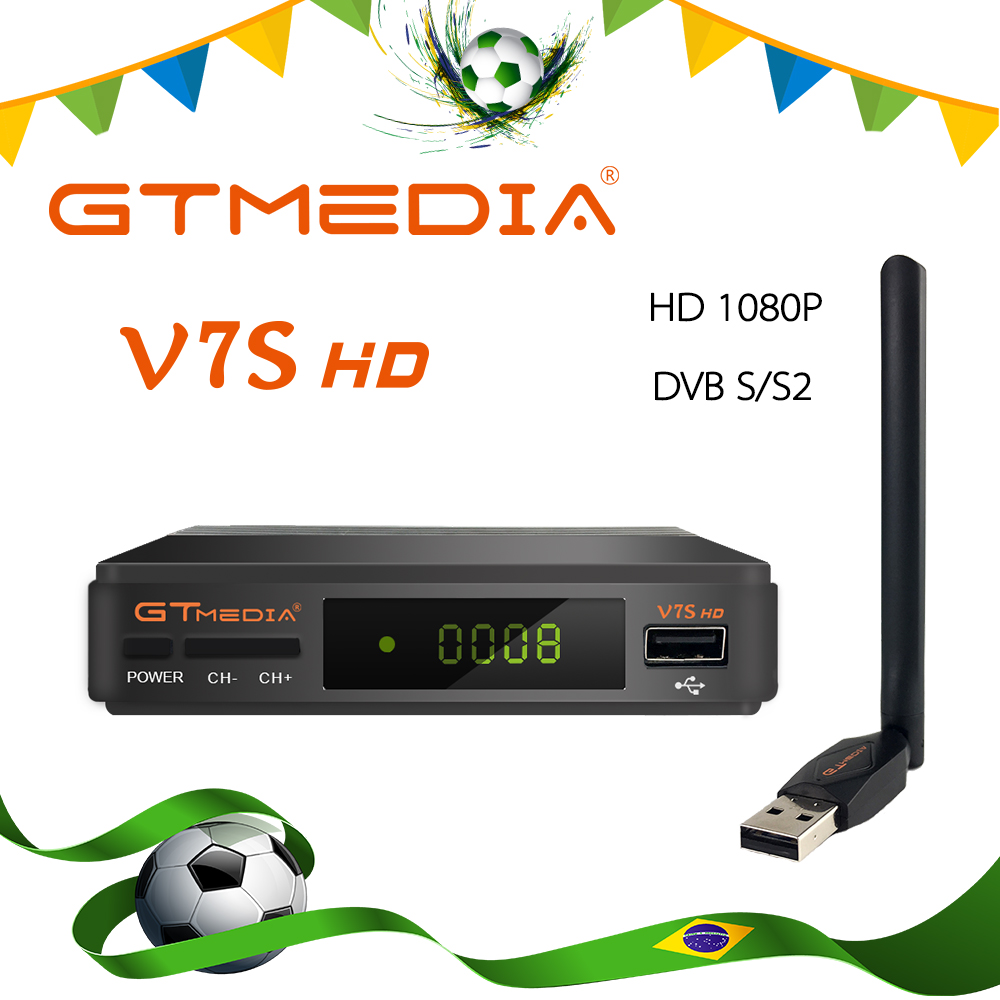 GTmedia V7S Hd Satellite TV Receiver Full HD DVB-S2+ USB Wifi Receptor Ship From Brazil Newcam Support Youtube Satellite Decoder