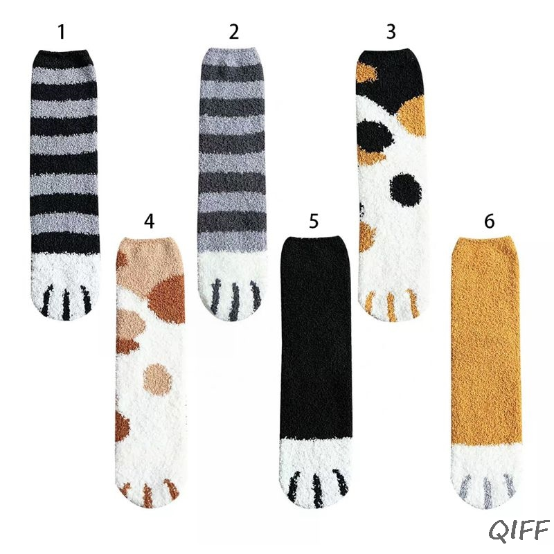 Women Winter Fluffy Fuzzy Warm Slipper Socks Cute Meow Cat Paws Print Hosiery
