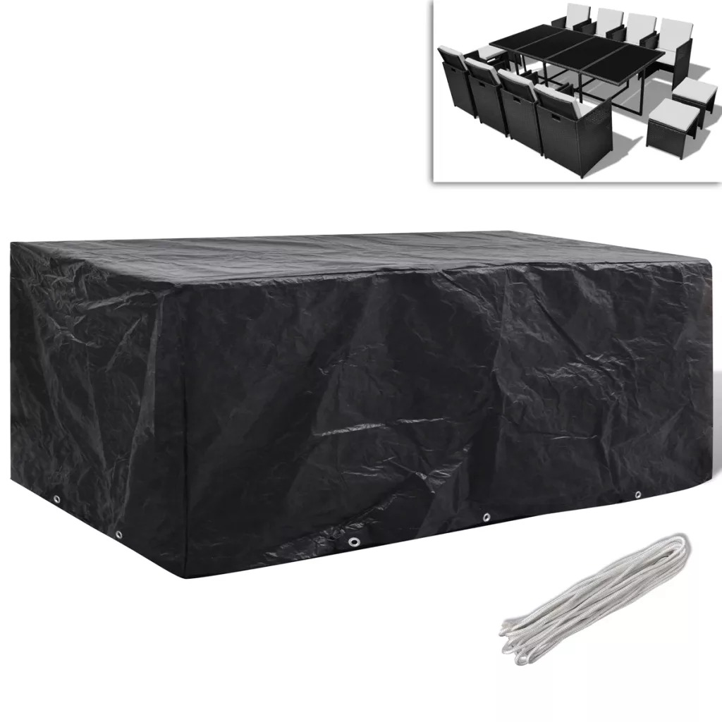 Vidaxl Garden Furniture Cover Poly Rattan Set 10 Eyelets For Rattan Table Cube Sofa Waterproof Garden Outdoor Protective Case