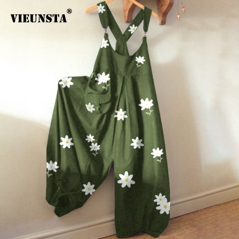 3XL Elegant Floral Print Cotton Linen Jumpsuit Women Sexy Sleeveless Backless Bodysuit Summer Wide Leg Trousers Romper Jumpsuits
