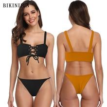 New Sexy Solid Color Bikini Women Swimsuit Hollow Bandage Swimwear M-XL Girl Backless Padded Bathing Suit Swim Micro Set