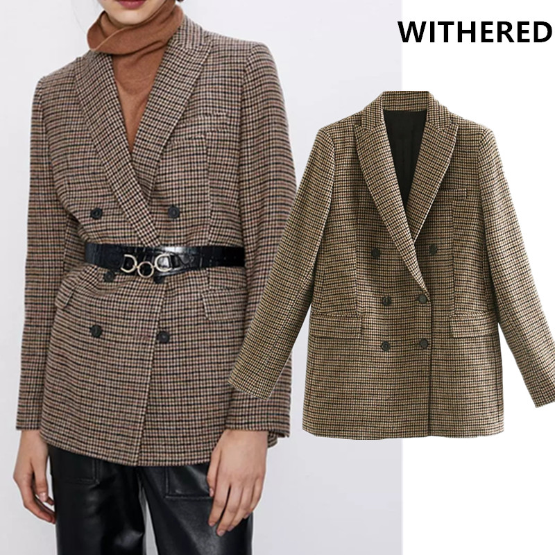 Withered New Blazer Feminino England Vintage Plaid Wool Double Breasted Blazer Women Blazer Mujer 2019 Women Blazers And Jackets