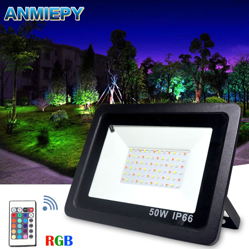 Floodlight Led RGB 100W 50W 30W Waterproof IP66 Led Spotlight Outdoor Lighting Landscape Lighting With Remote Control|Floodlights| |  - title=