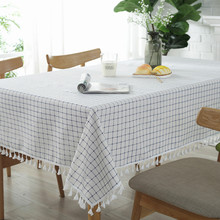 Nordic Tablecloths For Dining Room Restaurant Picnic Simple Plaid Tassel Tablecloth Cover Universal Cotton And Linen Table Mat