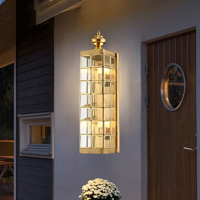 OutdoorLED Copper Wall Lamp Porch Light Wall Sconce Square Outdoor Waterproof Wall Light Garden Lights Modern Wall Lights L067