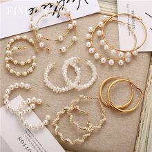 Moda twisted geométrica pérola argola brincos aretes ouro cor metal círculo redondo brincos feminino argolas jóias