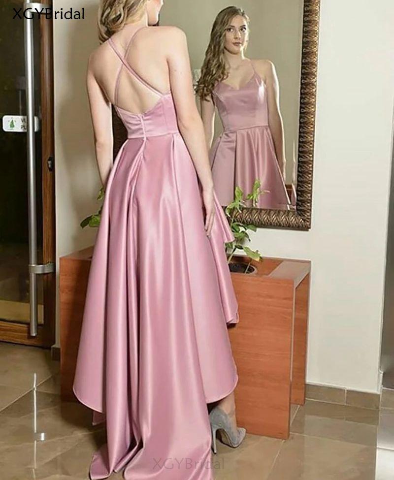 New Arrival V-Neck Evening Dress 2021 Formal Party Dress Pink Prom Gown Sweep Train Vestido De Noche Robe De Soiree платье