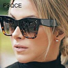 Damskie okulary przeciwsłoneczne luksusowe prostokątne okulary przeciwsłoneczne damskie marka projektant PC rama gradientowe szkła klasyczne modne okulary słoneczne tanie tanio FSQCE WOMEN KOCIE OKO Dla osób dorosłych Z tworzywa sztucznego UV400 50mm Z poliuretanu CN9768 52mm