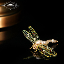 GLSEEVO Origianl Design Natural Fresh Water Pearl Dragonfly Brooches For Women Girls Inset Brooch Pins Handmade Jewelry GO0355