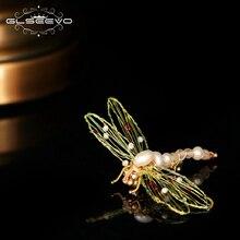 GLSEEVO Origianl تصميم لؤلؤ طبيعي من المياه النقية اليعسوب دبابيس للنساء الفتيات أقحم بروش دبابيس اليدوية مجوهرات GO0355