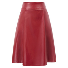 BP Women Skirts Faux Leather Skirt  Pockets Flared A-Line Back Zipper Vintage Office Lady