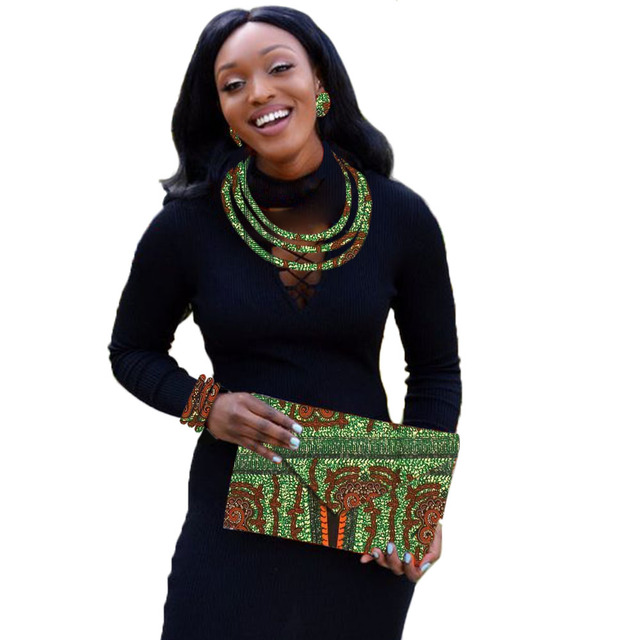 סט תכשיטים אפריקאי שעוות הדפסה תכשיטי ניגרי חתונה אפריקאית חרוזים תכשיטי סט מותאם אישית