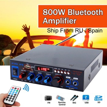 HIFI 2CH 800W Power bluetooth Audio Amplifier 12/220V Home Theater Amplifiers with Remote Control Support FM USB SD Card