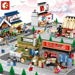 Sembo японский стиль уличный вид закуски уличные совместимые девушки Обучающие Diy маленькие частицы строительные блоки строительные игрушки