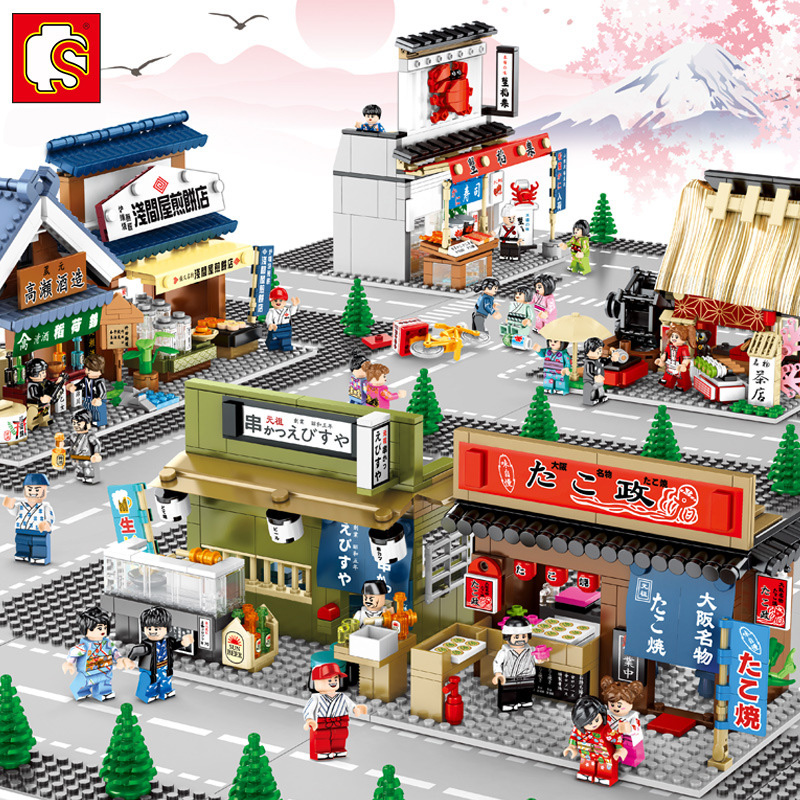 Sembo Japanese Style Street View Snacks Street Compatible Girls Educational Diy Small Particle Building Block Building Toys