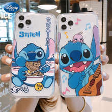 Disney 2021 Stitch Silicone Case Voor Iphone 11 12Pro Xs Max Iphone Se 2020 6 7 8 Plus Officiële Vloeibare silicon 360 Volledige Cover
