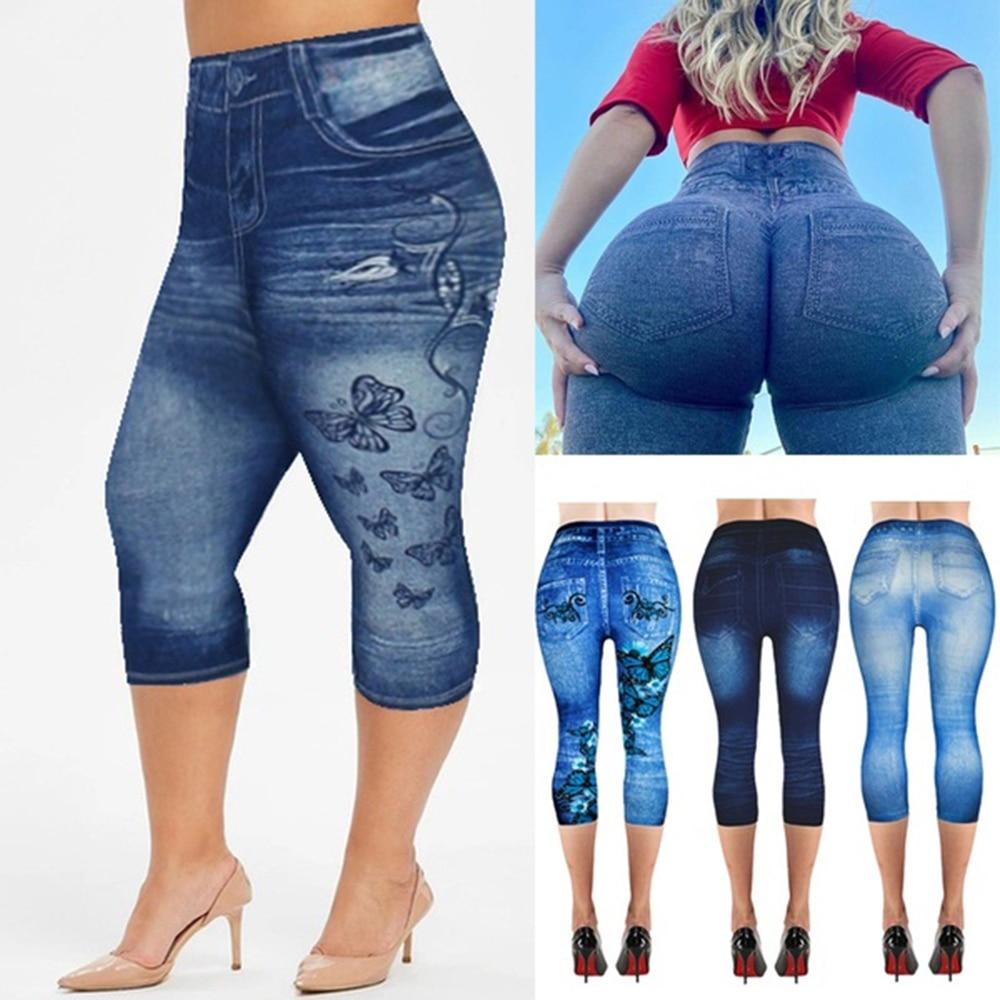 Women's Capri Leggings In Jeans 3/4 Summer Leggings Jeggings Skinny Butterfly Printed Jegging Denim Pants Leggins Mujer Dropship