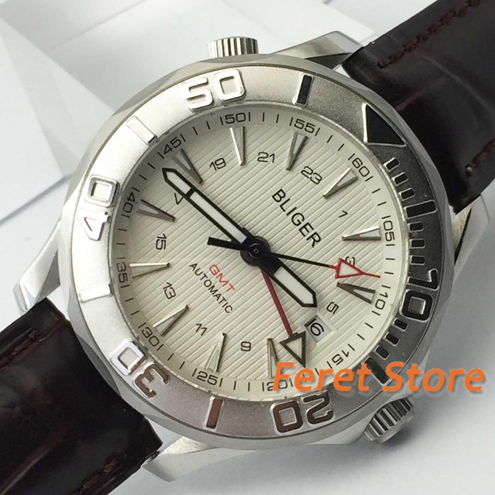 2019 New 41mm Bliger GMT Automatic watch men silver Luxury mechanical waterproof white dial leather strap leisure style