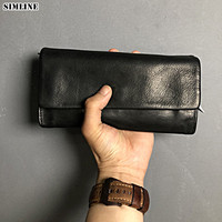 Genuine Leather Wallet For Men Women Luxury Vintage Long Wallets Purse Clutch Bags Card Holder With Zipper Coin Pocket Phone Bag