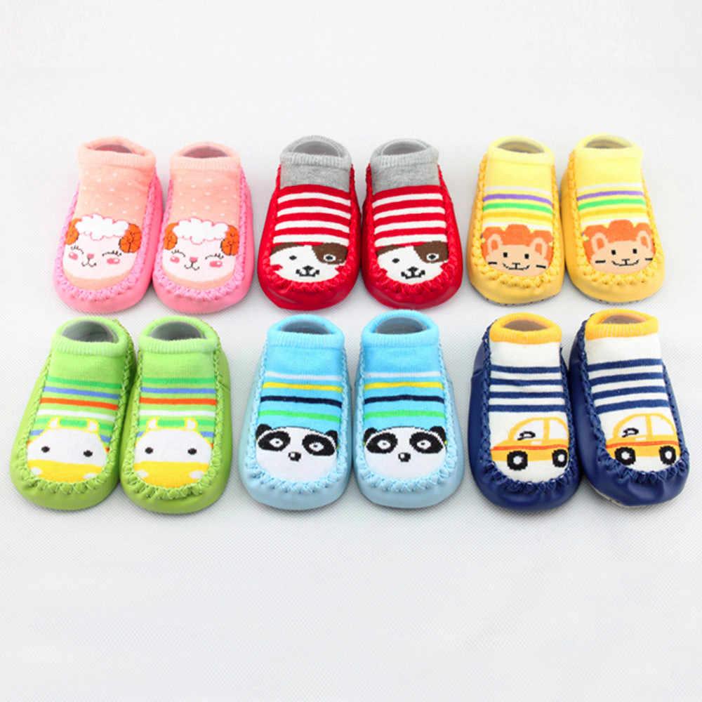 2019 calcetines para bebés recién nacidos con suelas de goma dibujos animados para bebés recién nacidos Calcetines antideslizantes zapatillas Botas recien nacido