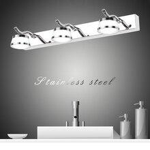 Zerouno Lámpara de baño de acero inoxidable, luz de tocador para habitación, luz de pared led acrílica, iluminación de pared impermeable para interiores